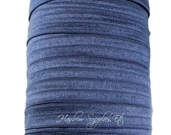 Navy Blue Fold Over Elastic - 5 yards 5/8 inch FOE - Shiny for Headbands Hair Ties Hairbow Supplies, Etc.