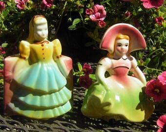 Vintage Pocket Vase Set of 2 Garden Girls - Bright & Colorful Sweet 1940s / 1950s