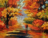 Original painting Oil Painting Landscape Impasto painting Palette Knife Textured Colorful canvas painting wll hanging red ART by MArchella