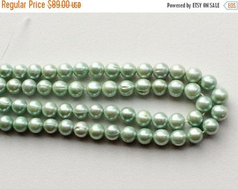 55% ON SALE Pearls - Natural Pearls, Natural Fresh Water Round Pearls, Sea Green Color Pearls, 7mm Each, 16 Inch Strand, 58 Pieces