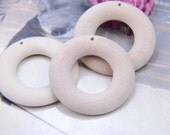 10 Pcs 44mm unfinished natural wood ring with big hole, Donut shape wood, handmade supply, no varnish