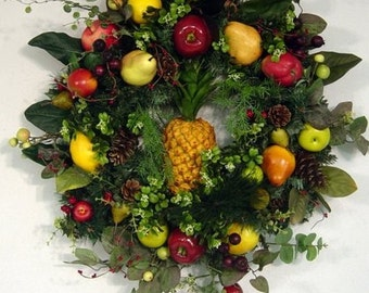 Colonial Williamsburg Wreath Pineapple Faux Fruit  XL Luxe READY To SHIP Design by Cabin Cove Creations