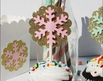 Snowflake Cupcake Toppers, Winter Wonderland, Party Decor, Pink or Mint, Gold Glitter, Baby Shower, Birthday Party, Dessert Table Supply