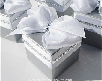Silver Wedding, Favor Boxes, White Bow, Rhinestones,  25th Anniversary Party, Bridal Shower Decor, Bridal Shower, Fully Assembled, Set Of 24