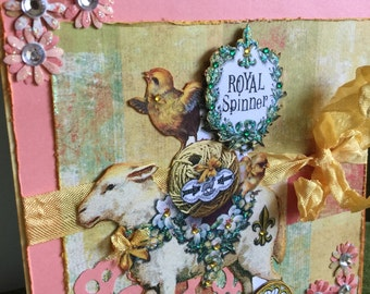 Easter card vintage French style fancy greeting