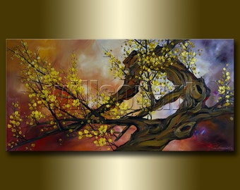 Original Asian Zen Art Modern Flower Canvas Oil Painting 24X48 Asian Blossoms by Willson Lau