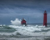 Flying Gull in a November Storm on Lake Michigan by the Grand Haven Lighthouse No.195 Fine Art Lighthouse Seascape Photography