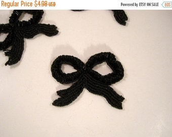 ON SALE All Black Beaded Bow Motif Applique--One Piece