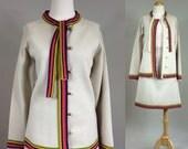 60s Knit Suit / 1960s Mod Knit Suit / Vintage 60s Wool Skirt and Knit Jacket Matching Set / 60s Retro Knit Suit / Vintage Knit Skirt Set