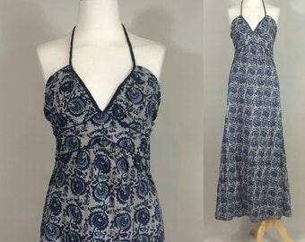 70s Retro Halter Dress / Retro Boho Hippie Maxi Dress / Retro Maxi Dress / Boho Halter Dress / Retro Hippie Halter Dress