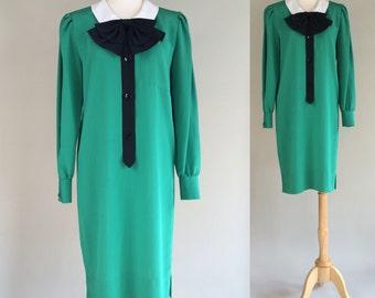 80s Green Dress / Vintage 80s Shift Dress / Vintage Shift Dress / Vintage 1980s Green Dress / Vintage Dress / Green Dress / Dress