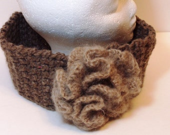 Thick cowl hand crocheted in milk chocolate brown wool with light cocoa mohair rose