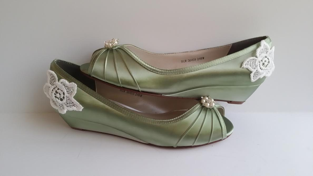Sage Green Wedding Shoes Sage Green Bridal Shoes By ABiddaBling