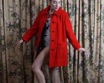 "1960's Mod ""Voluptuous Sized"" Bright Red Penguin Coat"