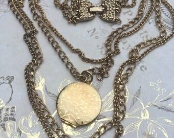 Vintage Multi Chain Gold Tone Locket, Estate Jewelry, vintage costume jewelry, vintage locket pendant