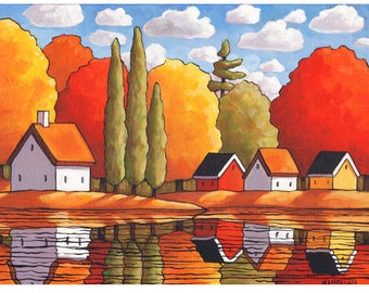 PAINTING 12x16 Original Fall Lodge Folk Art by Cathy Horvath, Colorful Trees & Cottages Riverside Autumn Landscape Acrylic on Canvas Artwork