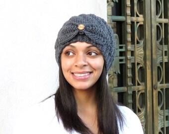 Crochet Beanie Hat, Crochet Skullcap, Gray Hat, Spiral Hat, Color is Charcoal