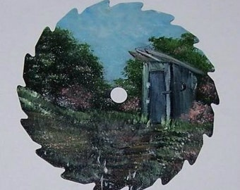 CUSTOM ORDER, Metal Art, Sawblade, Mini, Round, Spring, Outhouse on Right, Gift Idea 4 Her, Hand Painted, Fridge Magnet, Collectible Art