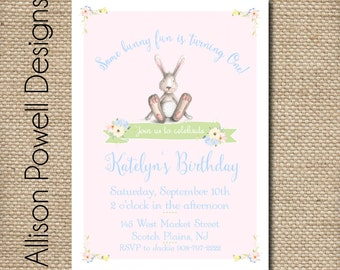 Some Bunny Is Turning One invitation - Bunny Birthday Party Printed or Print you own - Custom Colors
