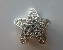 Swan Logo Swarovski Clear Crystal rhodium plated star Brooch Pin.