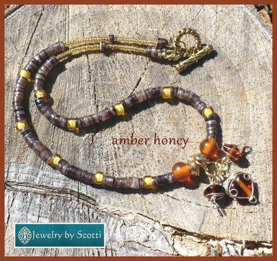 Amber Glass Gold Charm Necklace, Her Charm Necklace, Her Brown Necklace, Her Boho Necklace, Wire Wrapped Charm Necklace, Statement Necklace