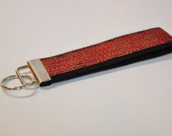 Key fob Keyfob wristlet  Key chain Red and black with gold looks  Fabric  Great stocking stuffer