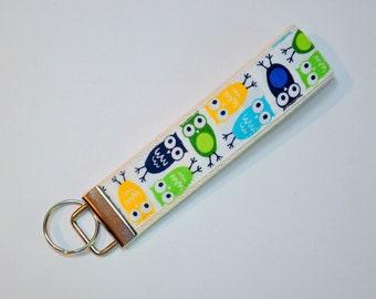 Key fob mini owls in blue yellow and green Keyfob  Key chain fabric  - stocking stuffer - teacher gift - under 10