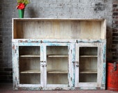 SALE Media Stand Reclaimed Antique Indian Sideboard Industrial Cream and Blue Buffet Boho Media Console