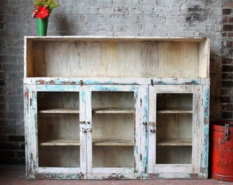 Media Stand Reclaimed Antique Indian Sideboard Industrial Cream and Blue Buffet Boho Console