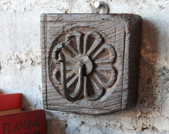 Reclaimed Wood Coat Hanger Wall Hook Antique Hand Carved Indian Architectural Element