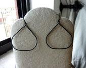 40% OFF SALE! AURA - Matte Finished Black Pear Thin Lightweight Teardrops Hoop Earrings