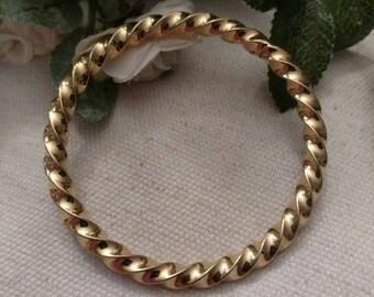 Twist Bracelet, Heavy, Gold Tone, Bangle, Shiny Gold