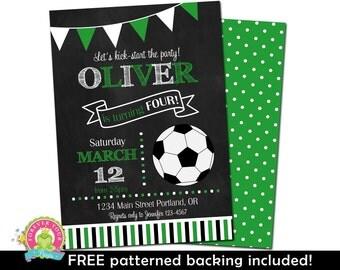 Soccer Birthday Invitation - Soccer Invitation - Soccer Invite - Soccer Party Invite - Soccer Party - Chalkboard Invitation - Boys Birthday