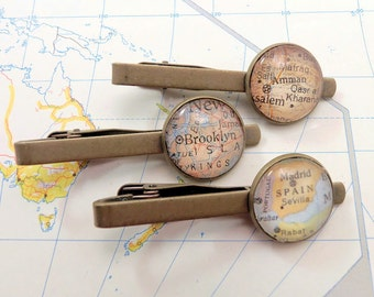 Map Tie Bar Clip, YOU Choose your Special place in the heart. / Brother Gift / Boss Gift / Man Anniversery gift / Boyfriend Birthday Gift