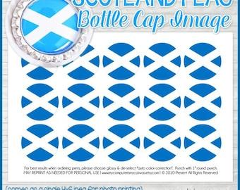 SCOTLAND FLAG Bottle Cap Image, Scottish Flag Printable, Inchie, 1-Inch Circle, Digital Collage, World Flags - Printable Instant Download