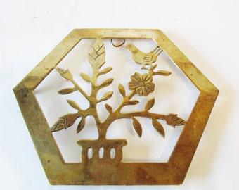 Chinoiserie Brass Trivet, Hexagonal Brass Wall Decor, Gallery Wall Decor, Powder Room Decor