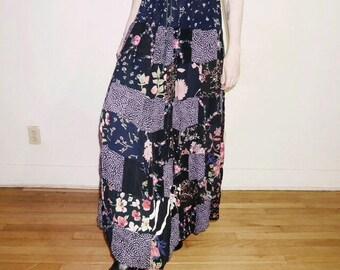 90s grunge floral patchwork hippie skirt free size
