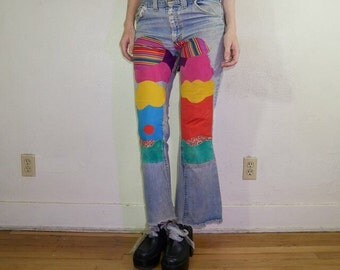 Vtg 60s Lee california psychedelic patchwork flared high waisted denim  30in waist