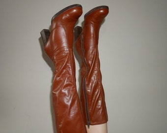 70s brown leather below the knee boots size 5