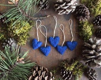 Felted wool heart ornaments, set of 5, Blueberry Blue, miniature blue heart ornaments for mini Christmas trees, wool essential oil diffuser