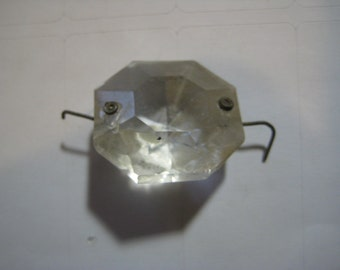 Antique Faceted Glass Connector Prism, Large Size, 1 1/16 Inch Size, 1 Pc.