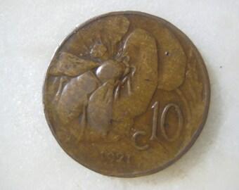 1921, Italy, Copper Coin, 10 Centesimi, Honey Bee and Vittorio Emanuele III