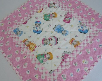 Kitty Quilted Table Topper, Quilted Table Runner, Retro Vintage Kitty Runner, Table Quilt, Pink,  Kitty Cucumber by In the Beginning Fabrics