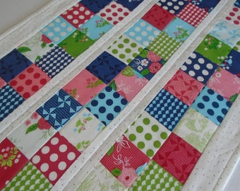 Quilted Table Runner,  Patchwork Quilted Table Topper, Dresser Scarf, Pinwheels, Polka Dots, Flowers, Bright Colors