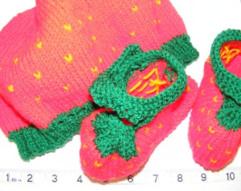 Strawberry Baby Beret and Bootie Set
