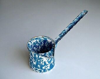 Enamelware Blue White Splatter Turkish Coffee Pot Pourer Dipper Ladle Vintage Enamel