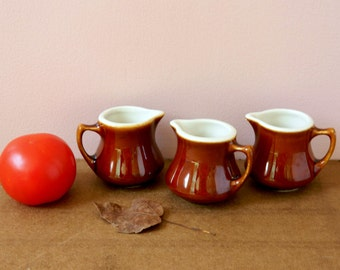 Brown Stoneware Creamer or Pitcher Collection. Hall China. Vintage Home Display. Table Accents. Rustic French Country Farmhouse Decor.