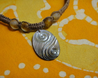 Mother of Pearl Carved Pendant African Beaded Hemp Necklace Tribal Jewlery Gift for Her