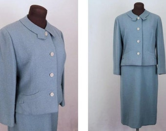 Vintage 50's Women's Suit Two Piece Dusty Blue Wool Crepe Size L / Large