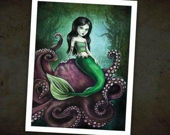 "Dark Mermaid 8.5"" x 11"" Art Print - Octopus Illustration - Sassy Siren"